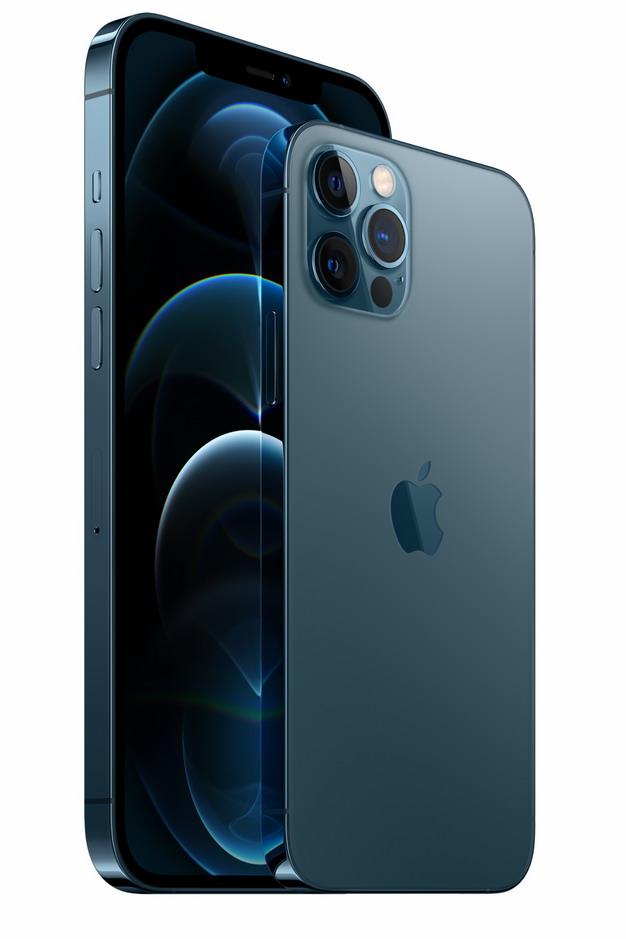 正面和背面的蓝色苹果iPhone 12 Pro手机png免抠图片素材597358 IT科技-第1张