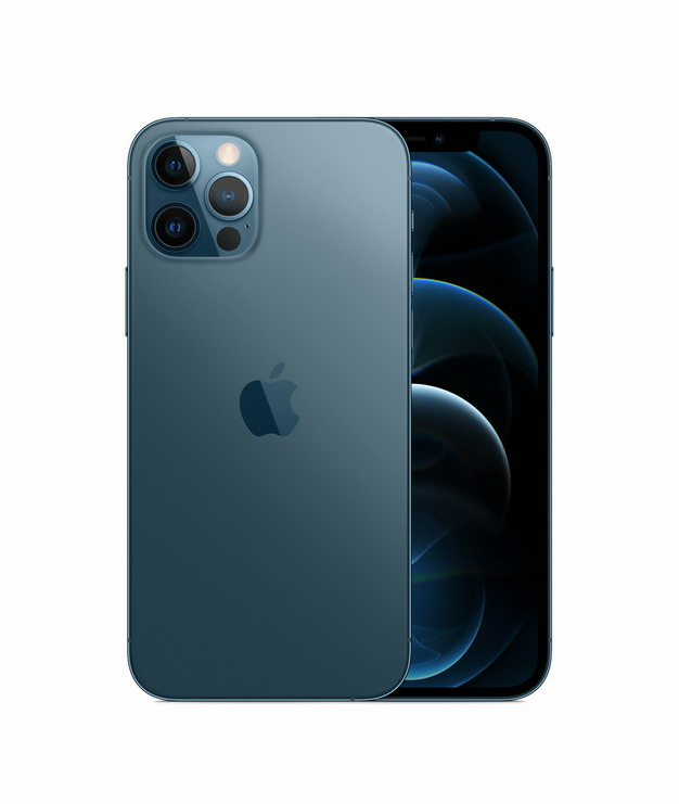 正面背面展示的蓝色苹果iPhone 12 Pro手机png免抠图片素材215994 IT科技-第1张
