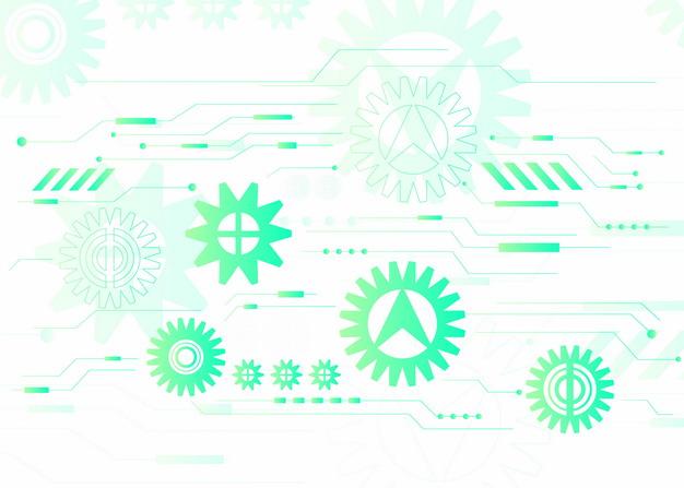抽象绿色机械齿轮装饰图案177127AI矢量图片免抠素材 装饰素材-第1张