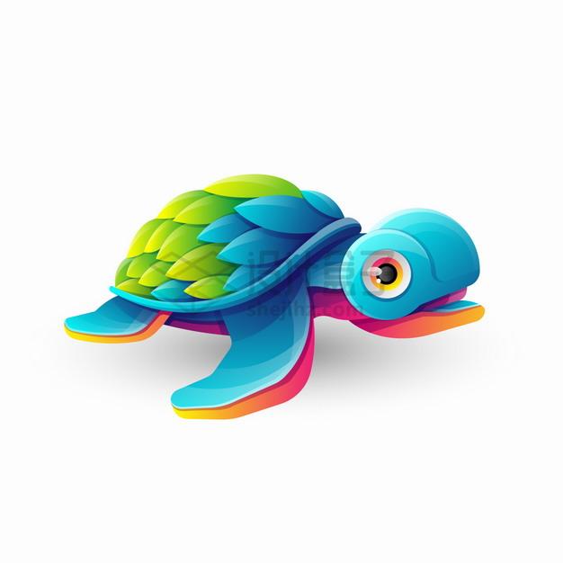 多彩色块组成的卡通海龟logo设计png图片素材 标志LOGO-第1张