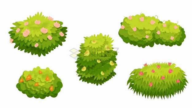 5款点缀着红色黄色小花的卡通灌木丛青草丛png图片素材 生物自然-第1张
