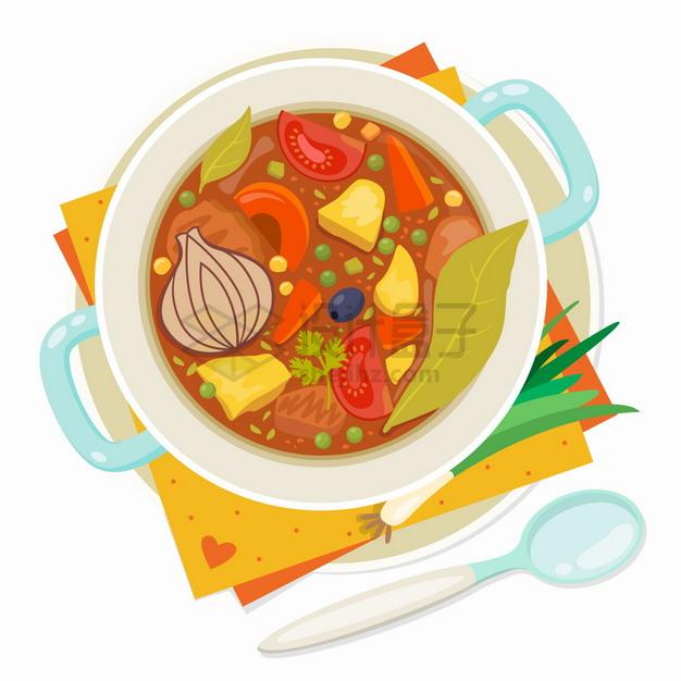 一碗罗宋汤美味美食俯视视角png图片素材 生活素材-第1张