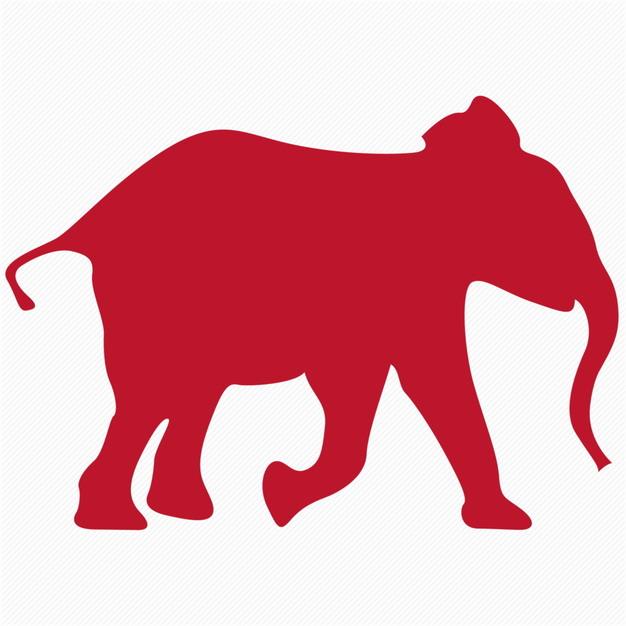 一头奔跑的红色大象剪影340762png图片免抠素材 生物自然-第1张