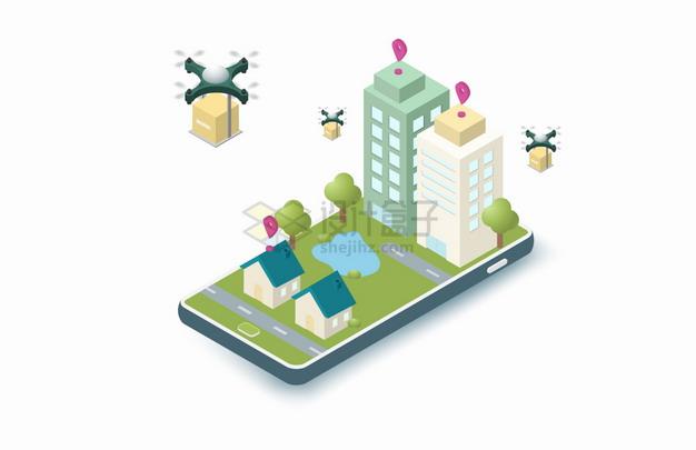 2.5D风格手机上的城市和无人机快递送货png图片素材 交通运输-第1张