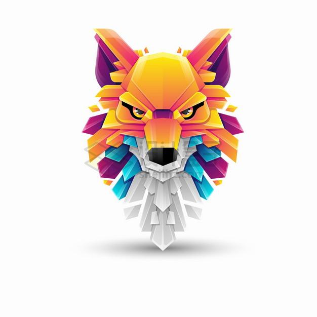多彩色块组成的野狼大灰狼logo设计png图片素材 标志LOGO-第1张