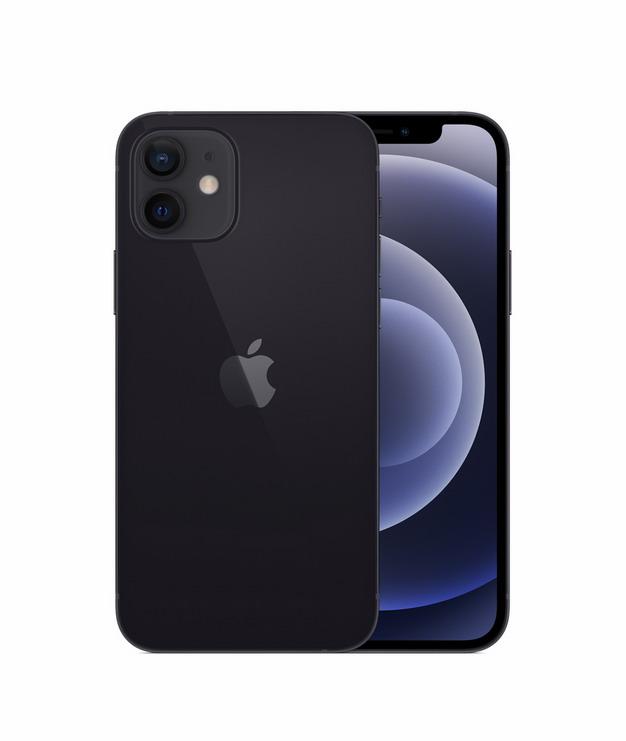 正面背面展示的黑色苹果iPhone 12 Pro手机png免抠图片素材203647 IT科技-第1张