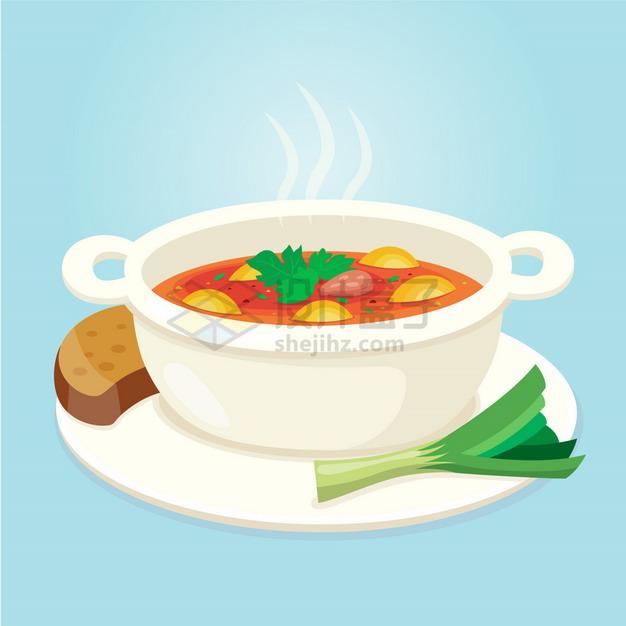 一碗美味的罗宋汤美味美食扁平插画png图片素材 生活素材-第1张