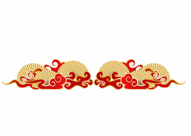 中国风金色扇子和祥云图案304758AI矢量图片免抠素材 装饰素材-第1张