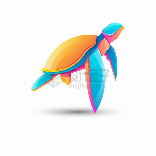 多彩色块组成的海龟logo设计png图片素材 标志LOGO-第1张