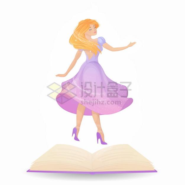 打开的书本魔法书上的美丽公主卡通女孩png图片素材 人物素材-第1张