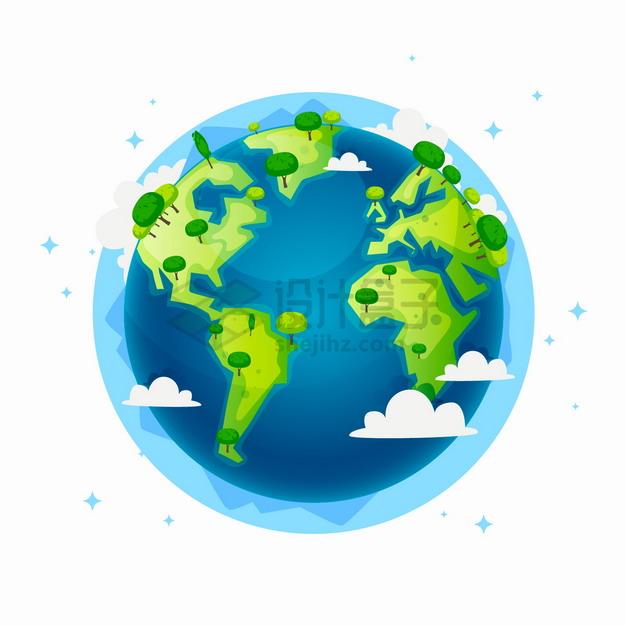 蓝色海洋绿色大地的卡通地球模型上长着大树保护地球环境主题插画png图片素材 生物自然-第1张