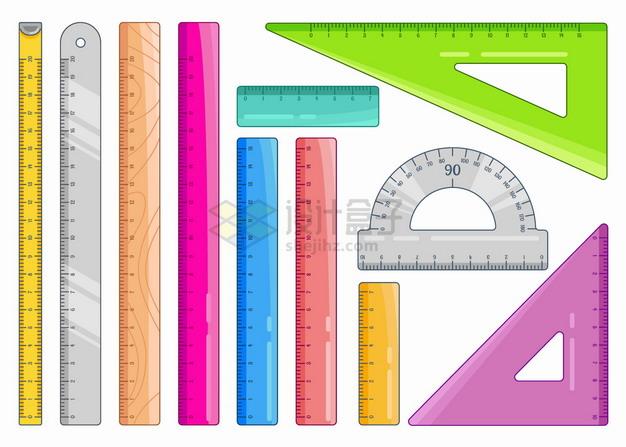 各种彩色直尺三角尺量角器等测量工具几何学习用品png图片素材 教育文化-第1张