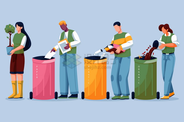 垃圾分类手抄报扔垃圾插画9534319png图片素材 生活素材-第1张