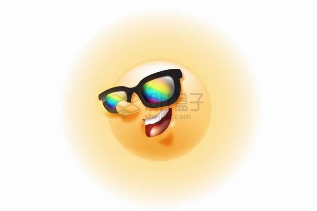 戴着彩色眼镜的卡通黄色太阳png图片素材 生物自然-第1张
