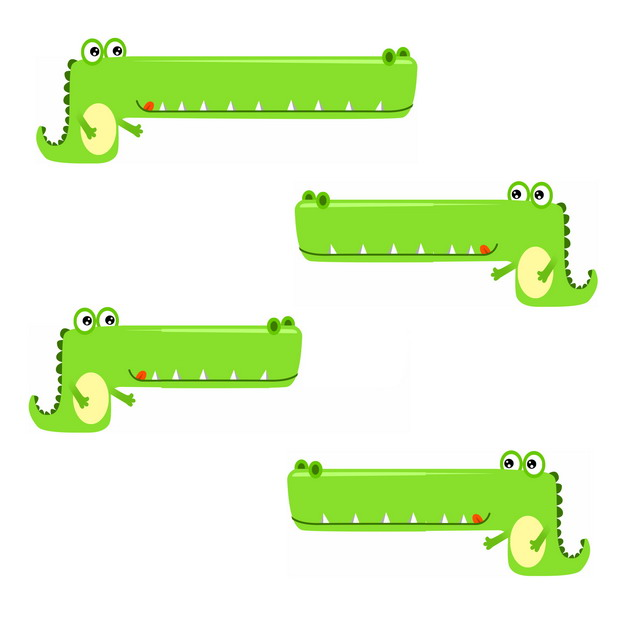 绿色卡通鳄鱼微信对话框聊天背景框372933png图片免抠素材 新媒体-第1张