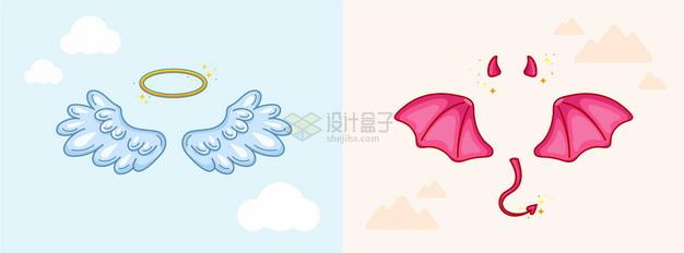 卡通天使的翅膀和光圈以及魔鬼的翅膀和角装饰png图片素材 生物自然-第1张