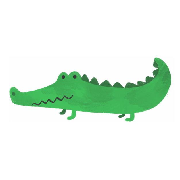 绿色卡通鳄鱼扬子鳄儿童手绘插画266916png图片免抠素材 生物自然-第1张