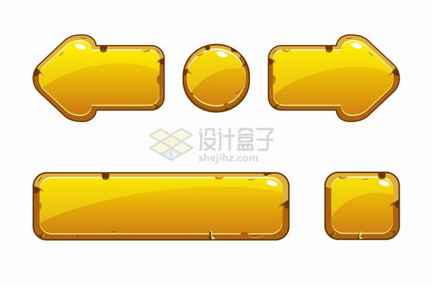 金色水晶按钮游戏方向键png图片素材 UI-第1张