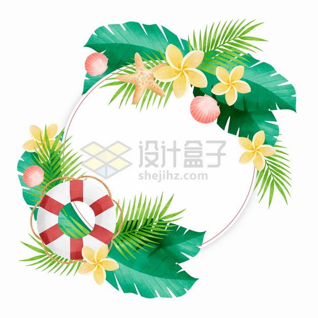 热带雨林花卉叶子组成的圆圈标题框文本框546781png图片素材 边框纹理-第1张