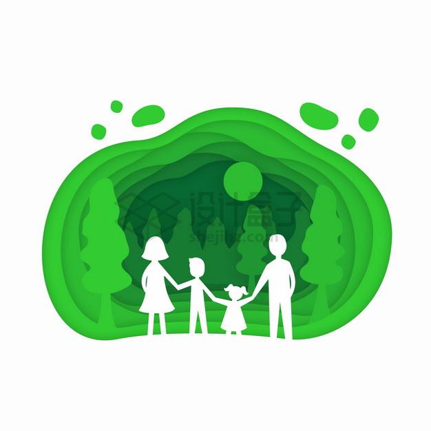手牵手的一家四口在绿色的森林中剪纸叠加风格插画png图片素材 生物自然-第1张