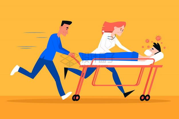 两个医护人员推着推拉病床运送新型冠状病毒肺炎病人png图片素材 健康医疗-第1张