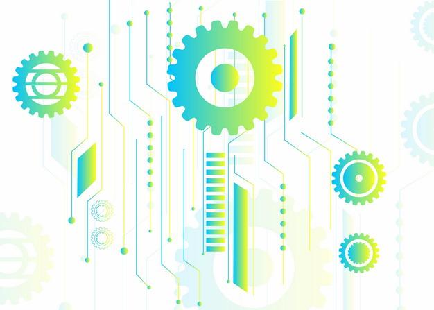 抽象绿色机械齿轮装饰图案202719AI矢量图片免抠素材 装饰素材-第1张