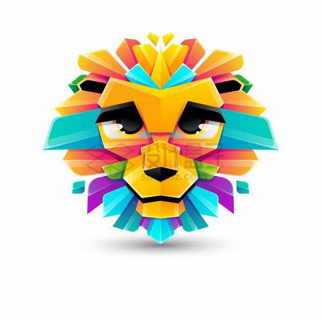 多彩色块组成的卡通狮子logo设计png图片素材 标志LOGO-第1张