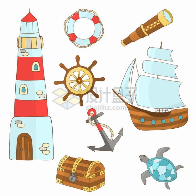 卡通灯塔救生圈方向舵帆船宝物箱等手绘插画png图片素材 插画-第1张