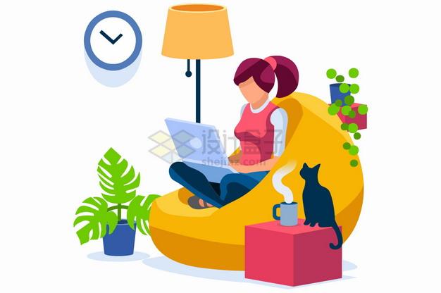 坐在懒人沙发上玩电脑的女孩扁平插画png图片素材 休闲娱乐-第1张