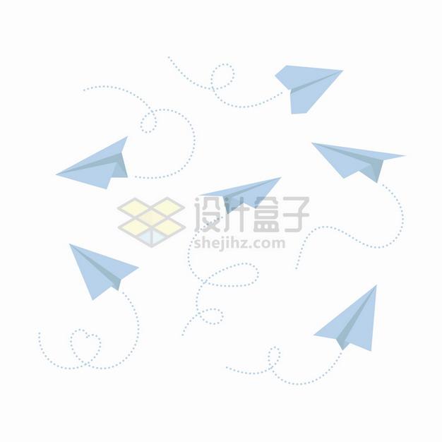 各种带虚线的淡蓝色纸飞机png图片素材 休闲娱乐-第1张