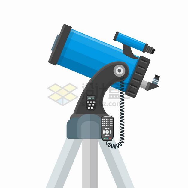 蓝色电动反射天文望远镜侧视图png图片素材 科学地理-第1张