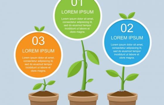 花盆里长出的植物上的信息展示PPT元素素材