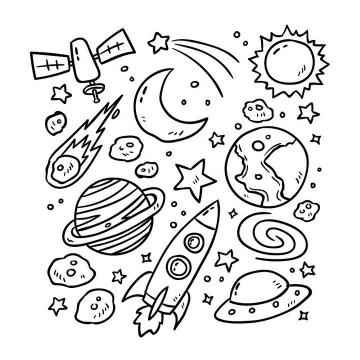 手绘简笔画风格太阳系行星卫星宇宙探索天文科普图片免抠素材