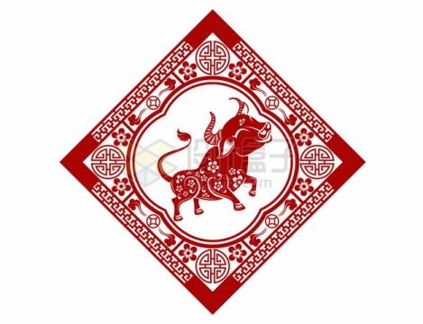 2021年牛年中国风红色剪纸贴花窗花576987png矢量图片素材