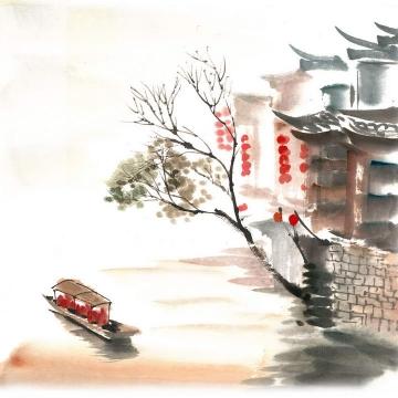 彩色水墨画风格中国江南水乡古镇小船风景图png免抠图片