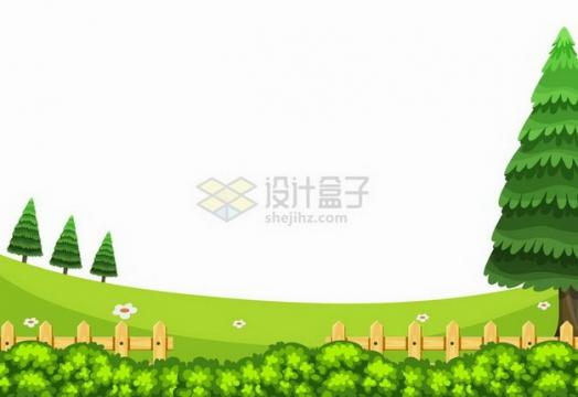 春天夏天灌木丛草地木栅栏雪松树等乡村风景插画png图片免抠矢量素材