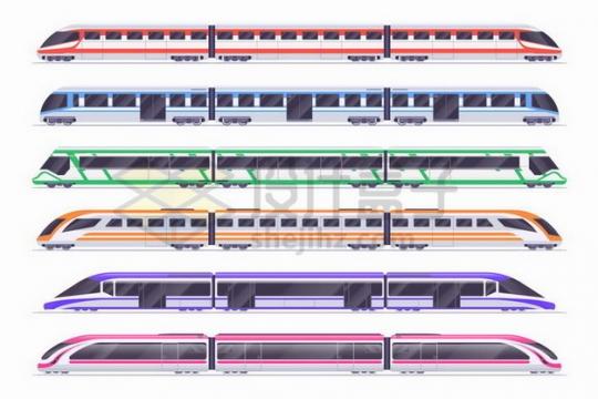 6款不同涂装的高铁车厢侧视图png图片免抠矢量素材