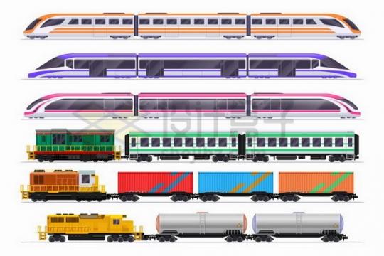 6款高铁车厢客运和货运火车车厢侧视图png图片免抠矢量素材