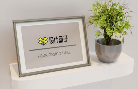 简约白色装饰墙架上的花盆和相框展示PS样机模板
