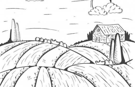 手绘线条农场的风景照简笔画图片免抠素材