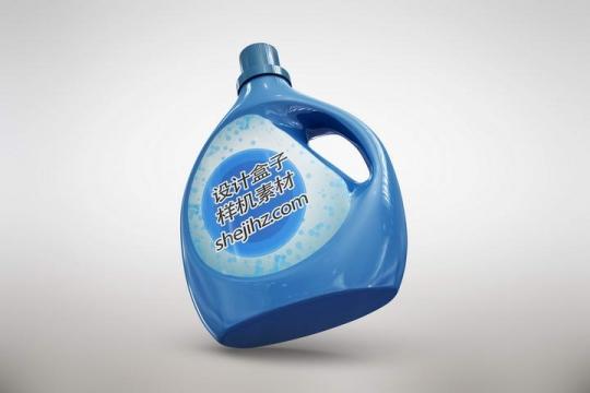 蓝色洗涤剂洗衣液蓝月亮包装样机图片设计素材
