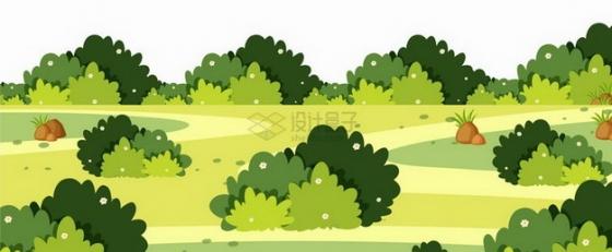春天夏天青草地和灌木丛乡村风景插画png图片免抠矢量素材