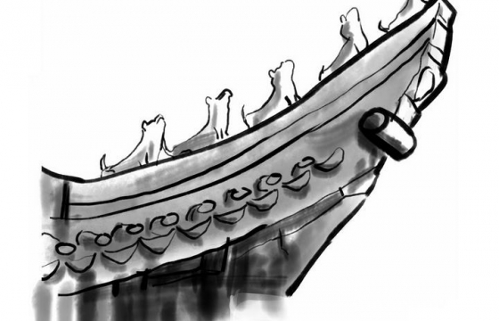 手绘水墨画风格中国传统建筑的屋檐png免抠图片