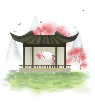 中国风彩色水墨画风格春天樱花荷塘少女远山风景图片免抠素材