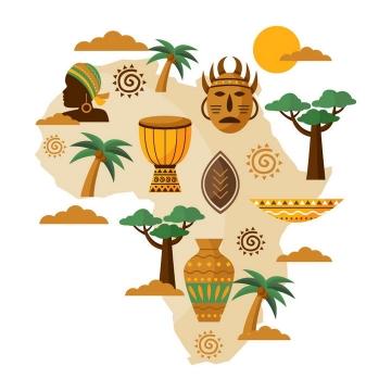 扁平插画风格非洲大陆地图和上面的风土人情图片免抠矢量素材