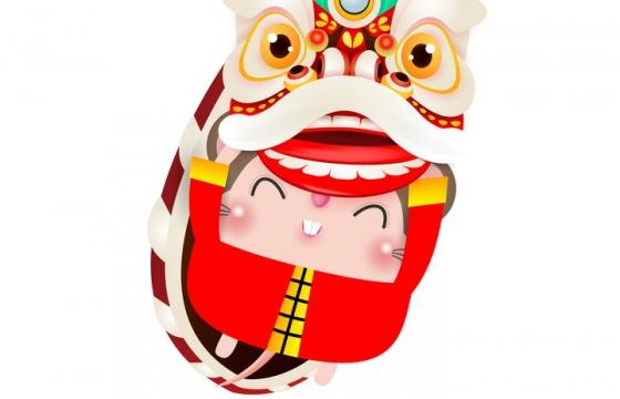 可爱卡通的中国传统舞狮子图片免抠矢量素材