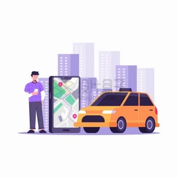 卡通出租车乘车者和手机上的打车APP扁平插画png图片免抠矢量素材