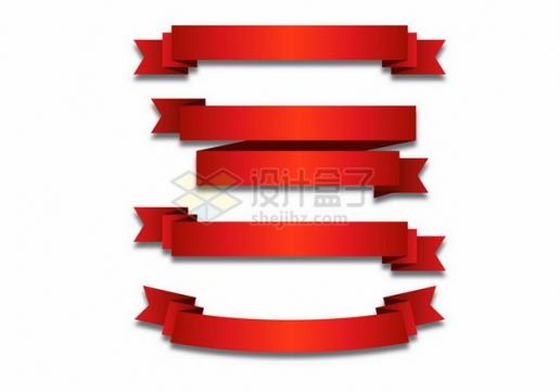 4款红色丝绸飘带彩带装饰484631png图片素材