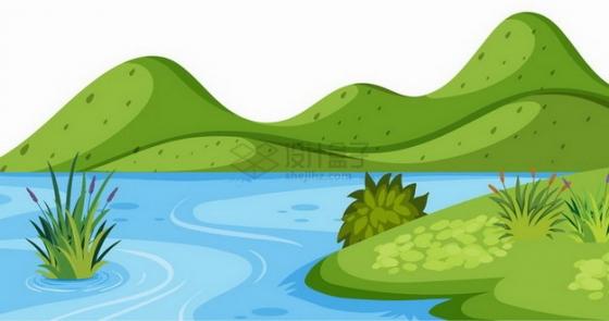 春天夏天远处的青山近处的草地和池塘乡村风景插画png图片免抠矢量素材