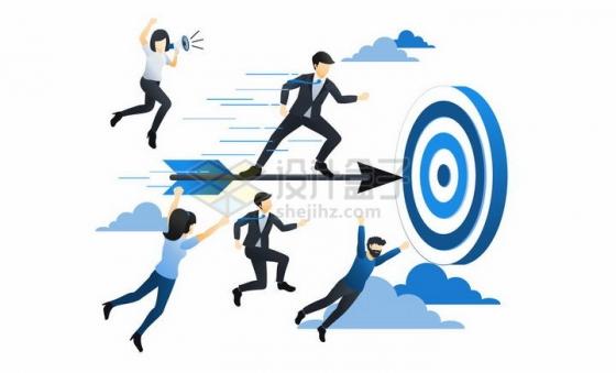 蓝色扁平插画风格瞄准目标靶子射箭的商务人士png图片免抠矢量素材